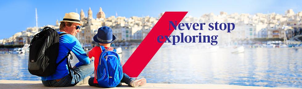Axa Banner 'Never Stop Exploring'